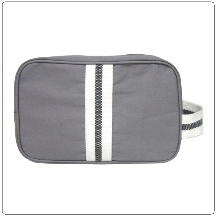 side handle grey canvas toiletry cosmetic bag