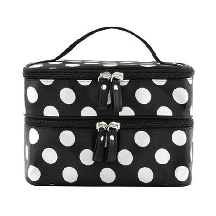 Double Layer Dot Pattern Cosmetic Bag with Mirror