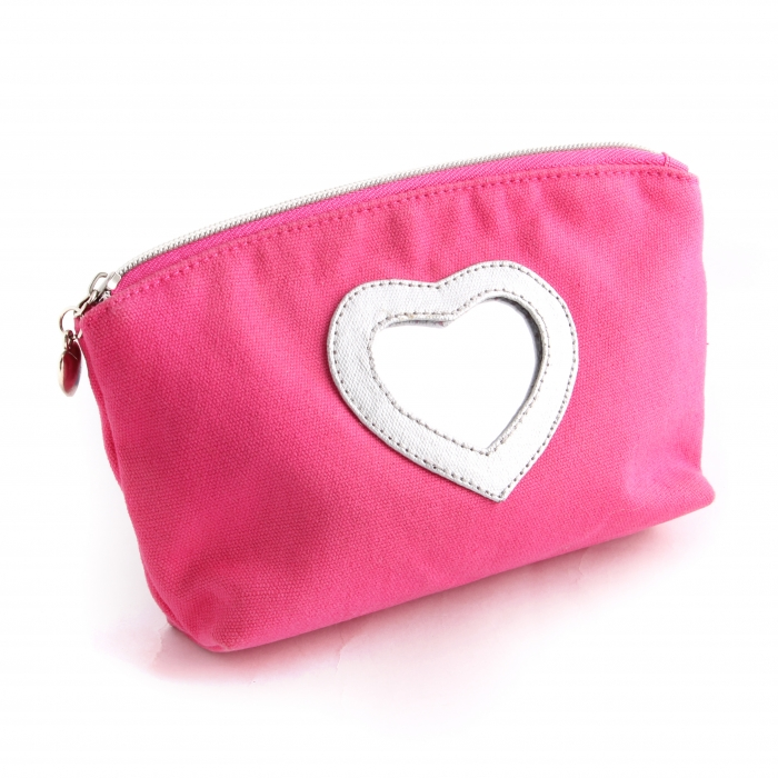 Factory canvas cosmetic bag with mirror