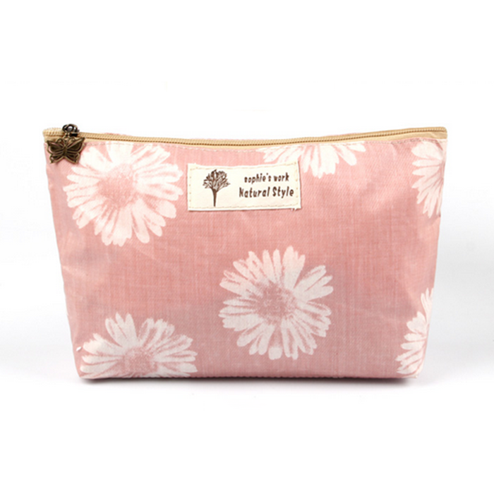 Canvas cosmetic bag print fl...
