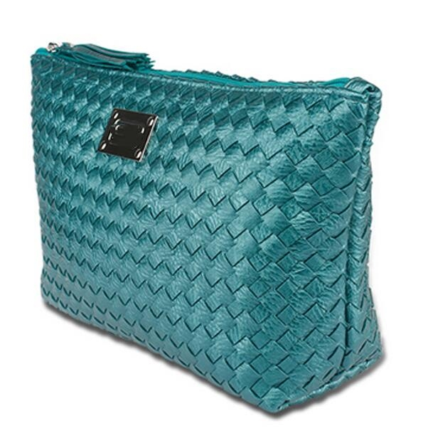 Weave pattern pu leather cosmetic bag