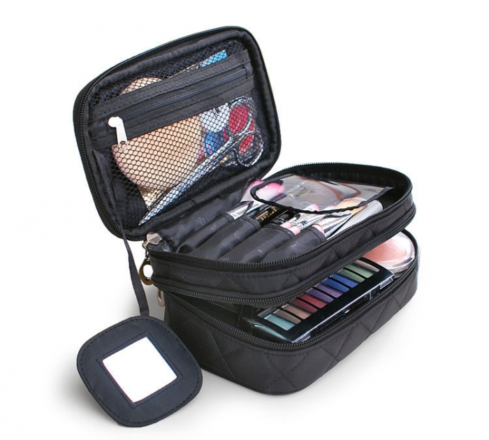 Black quilt makeup train cosmetic bag with mirror in flap