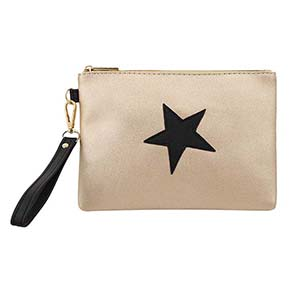 Custom star patch pu gold glitter cosmetic bag